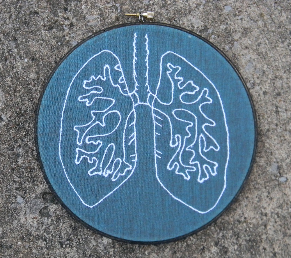 Anatomy lung embroidery hoop art etsy listing