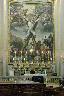 A painting of the crucified St Andrew dominates the church of his name: Sant'Andrea della valle © ROH 2011 | by Royal Opera House Covent Garden