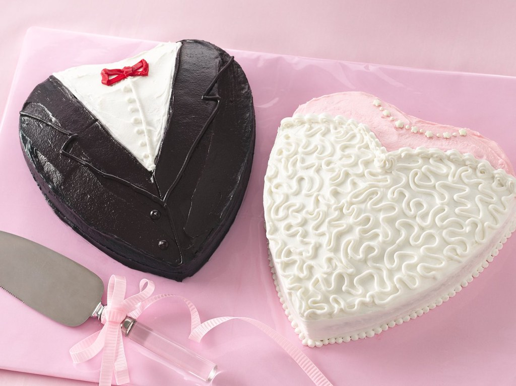 Bride And Groom Shower Cakes Recipe Ingredients 2 Heart