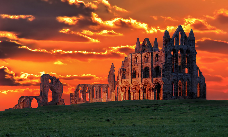Whitby Abbey at sunset...
