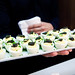 Tray of deviled egg topped with American caviar