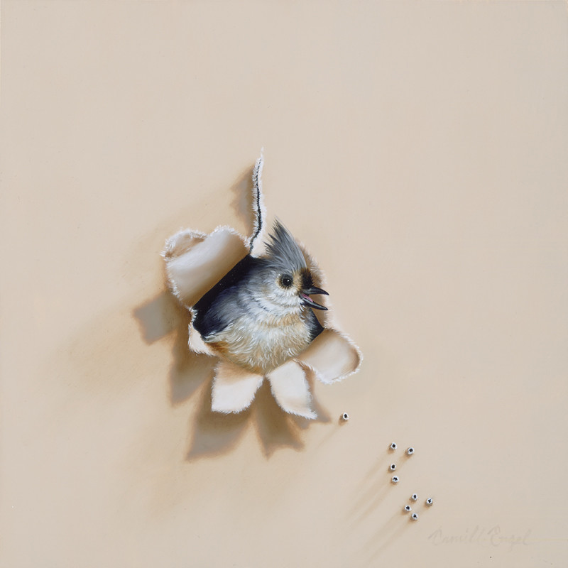 trompe l 39 oeil tufted titmouse backyard bird oil painting b flickr. Black Bedroom Furniture Sets. Home Design Ideas