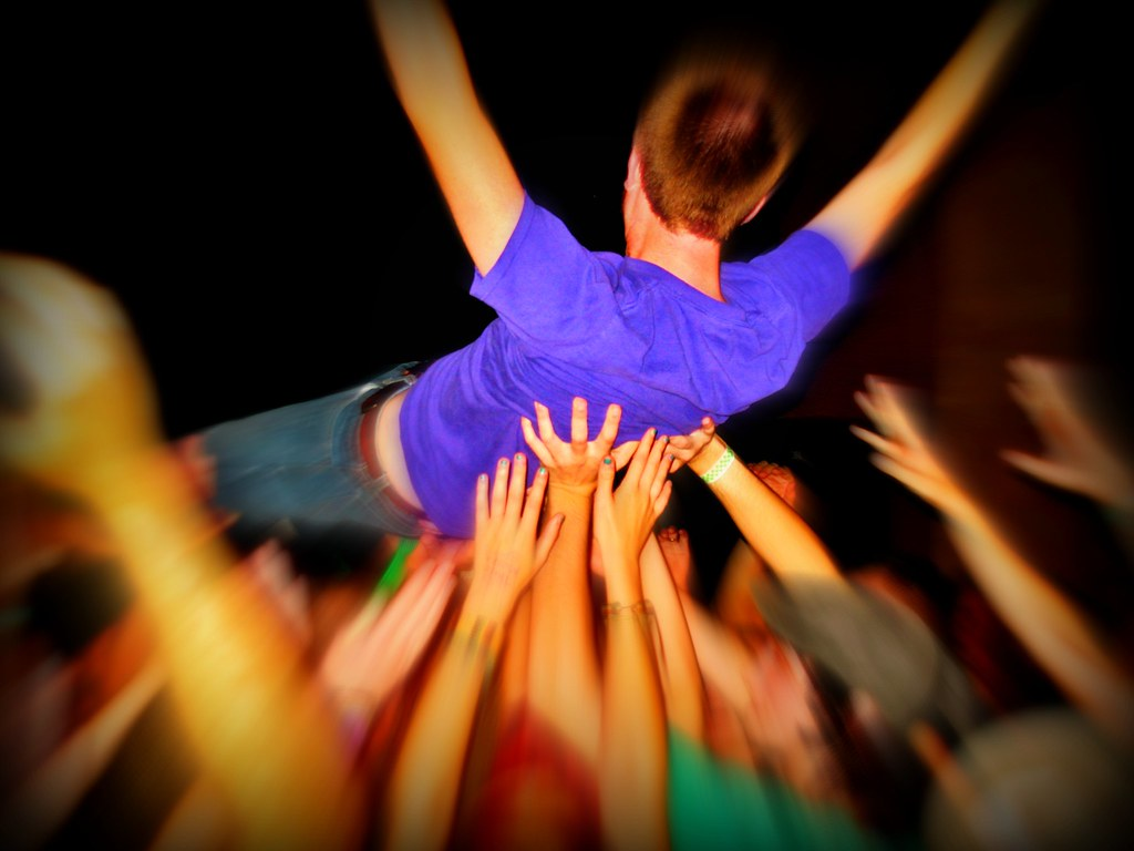 crowd surfer | crowd surfer at Men Without Hats concert in