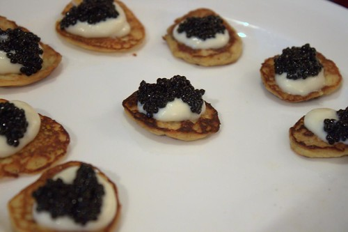 Caviar & white chocolate on a curry blini | by LexnGer