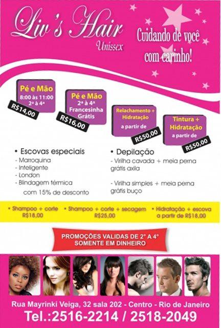 Famosos Panfleto para o Salão de Beleza Liv's Hair - | Patricia Cabral  UW58