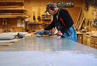 Concrete Counter White Stone Outdoor Kitchen