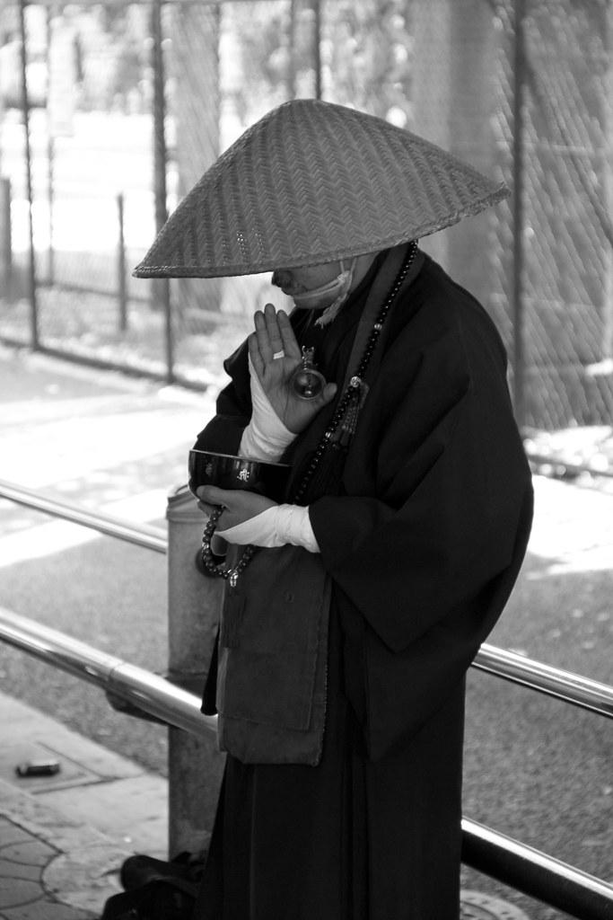 japanese buddhist monk near akihabara in tokyo black
