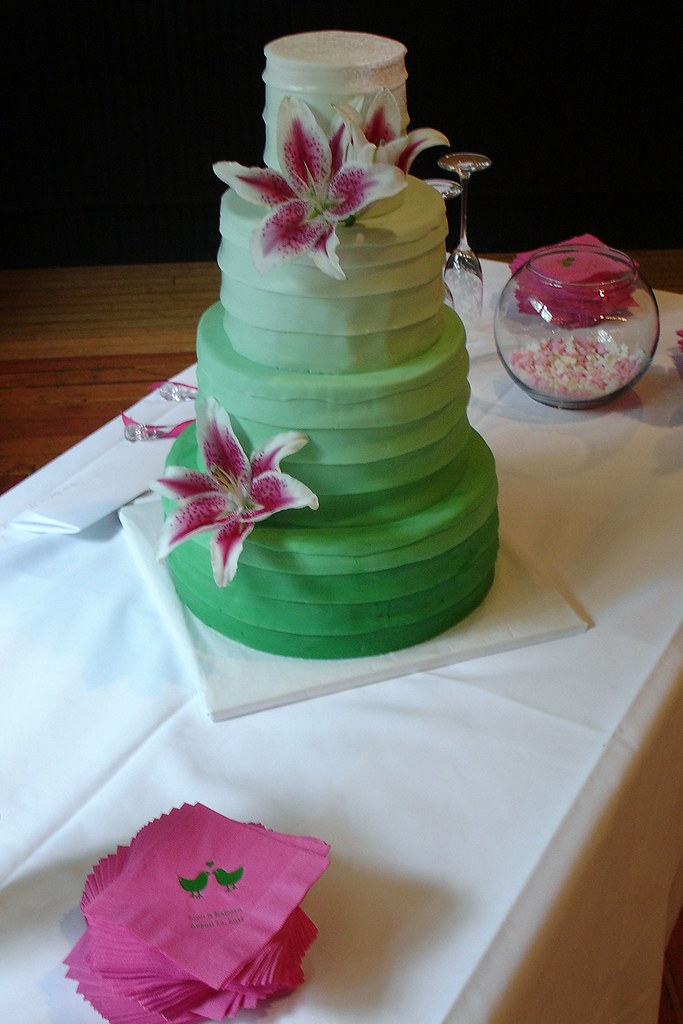 Modern Wedding Cake With A Fondant Color Gradient Tiered