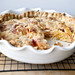 peach creme fraiche pie with a thyme butter crust