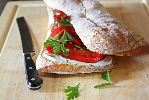 roasted pepper & goat cheese sandwich | by Madison Bistro