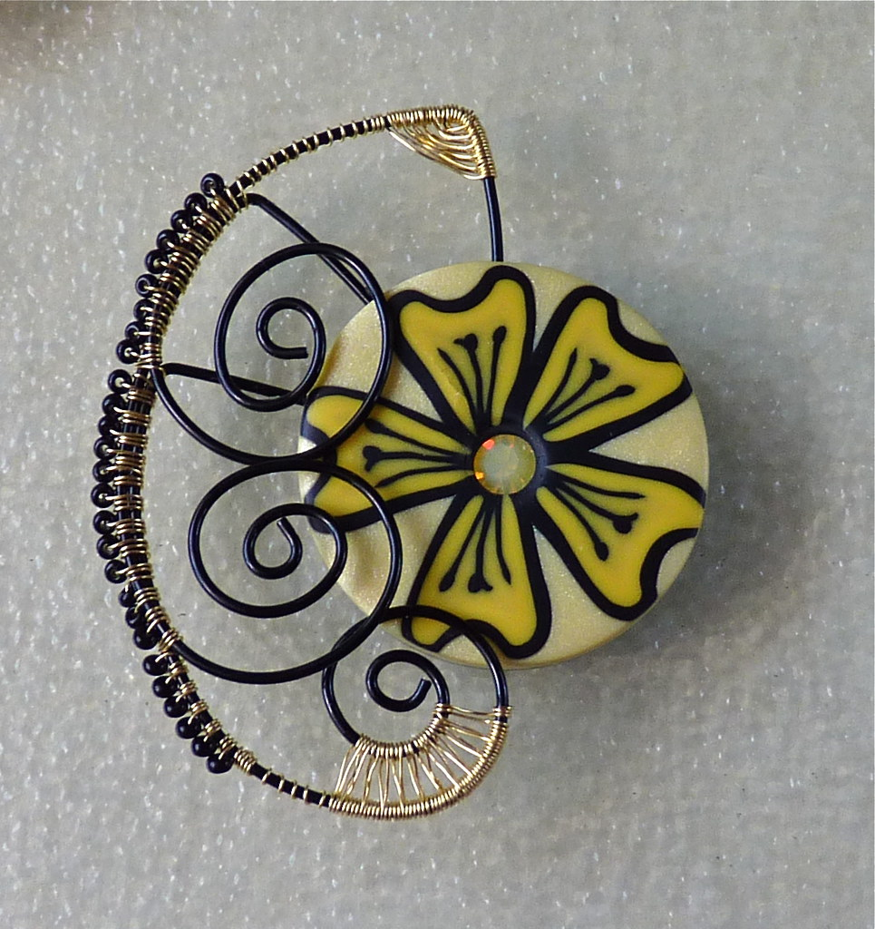 Mixed Media Yellow Flower Pin Polymer Clay Yellow Flower W Flickr