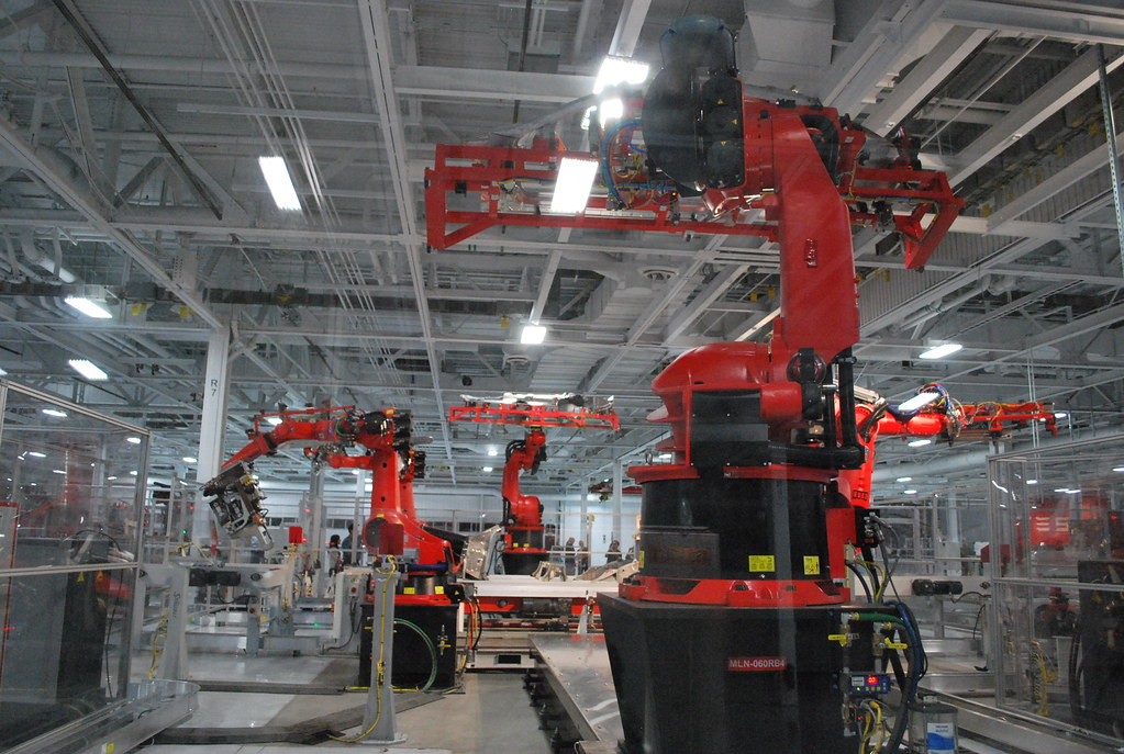 Robots In The Tesla Factory Manufacturing Line Patrick