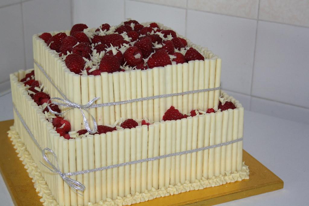 White Chocolate And Raspberry Birthday Cake