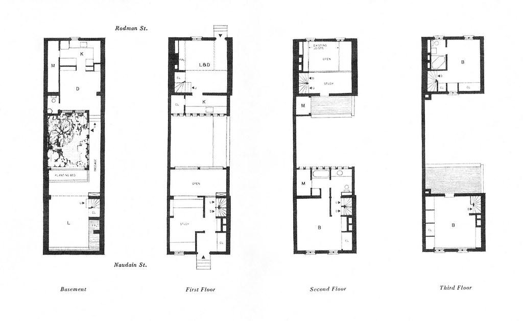 Floor Plans, Buten House, Philadelphia PA 1962, Louis Saue