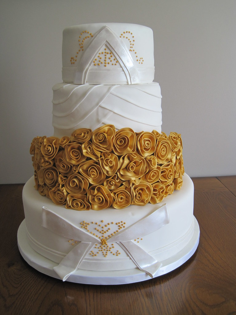 Golden Couture Wedding Cake Original Design By J Adore