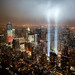 The Freedom Tower with the 9/11 Tribute in Light.