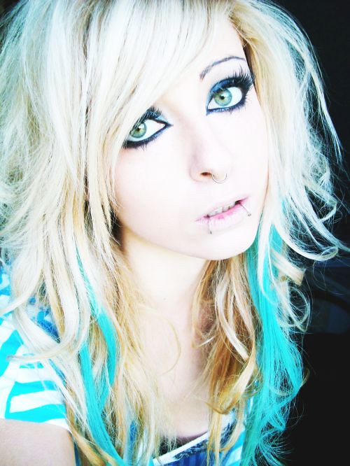 bibi barbaric emo scene hair style blonde blue curly eyes