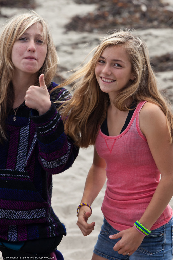 Two Girls Give Thumbs Up Youth Group Volleyball And Swim