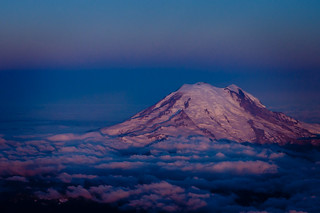 Mount Rainier just before sunrise, from 18,000 feet.  DSC_9453 | by Scott Butner