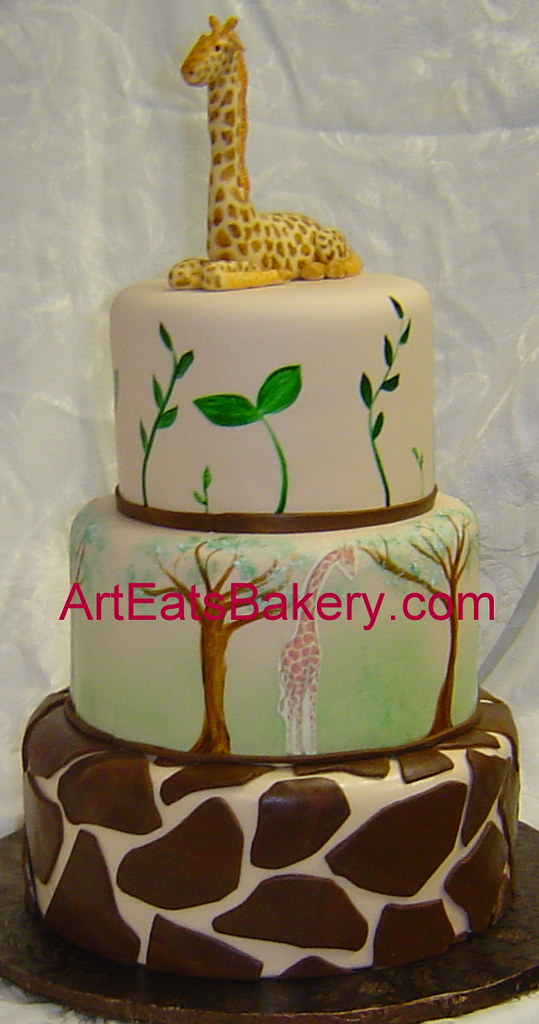 Three Tier Jungle Theme Baby Shower Custom Cake With Hand