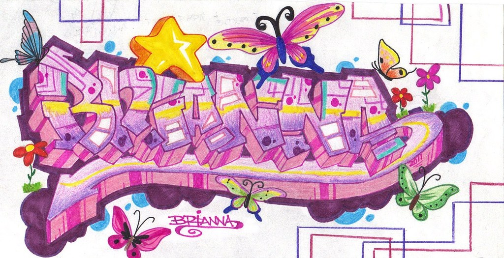 R Graffiti Letters BRIANNA in graffiti.. ...