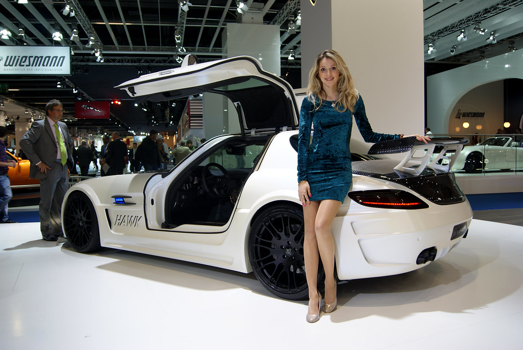Sls Girl Girl Posing Next To The Mercedes Benz Sls Hawk