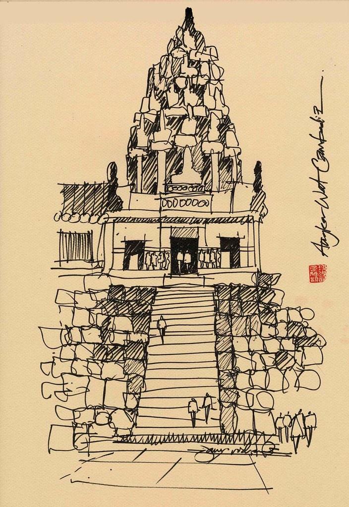Cambodia Angkor Wat Drawing Angkor Wat Cambodia | by