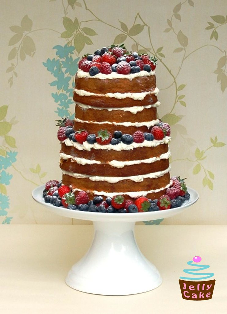 "Natural Summer Berries Cake | A 2 tier 4 layer ""naked ..."