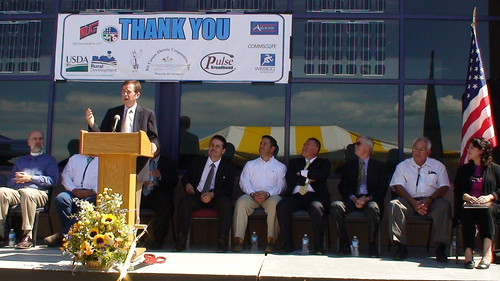 Agriculture State Director for New Mexico Terry Brunner speaking at the $64 million broadband fiber-to-the-home project groundbreaking ceremony