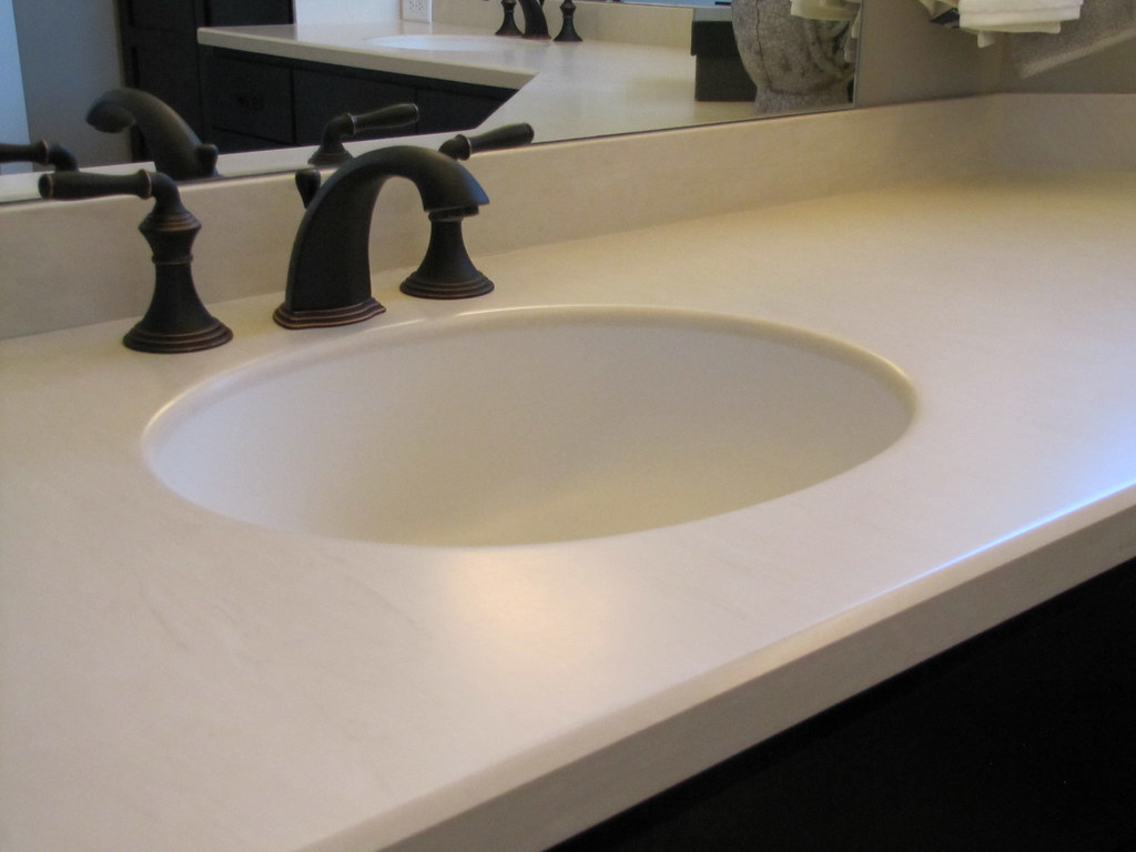 Dupont Corian Ecru This Bathroom Countertop Is Made From Flickr