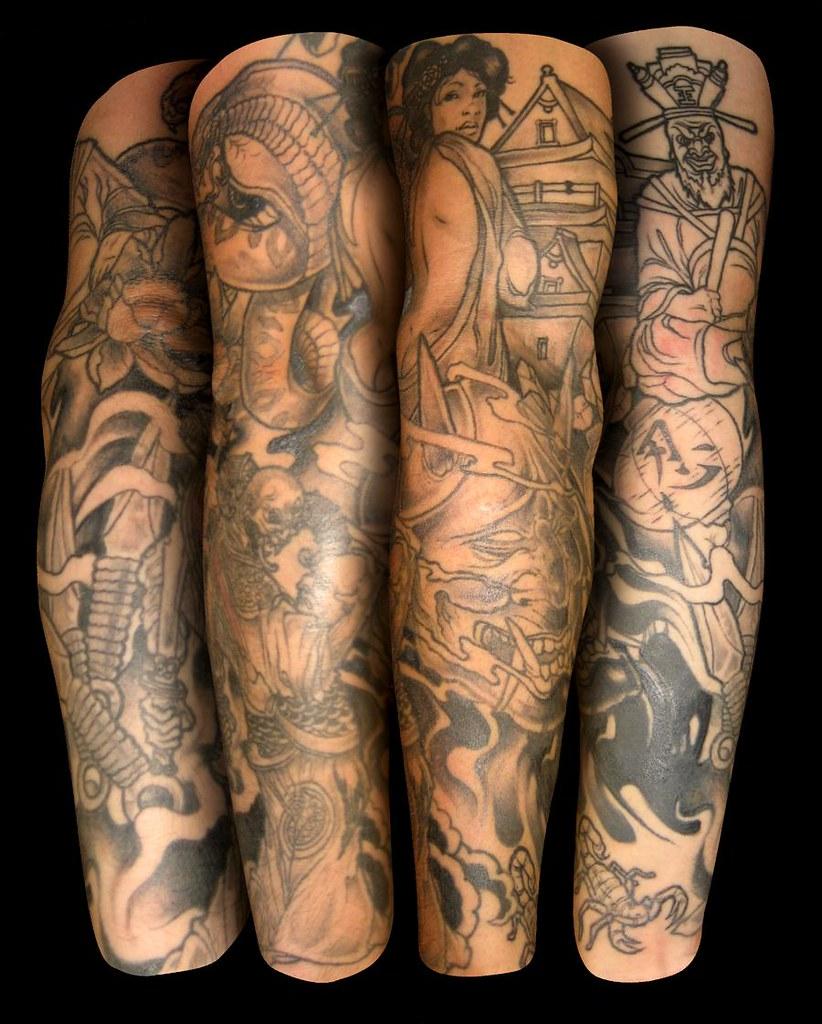 japanese theme tattoo sleeve | ronnie hicks | Flickr