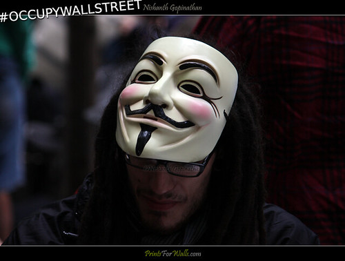 Guy Fawkes - Occupy Wall Street: Protesters Gather For Demonstration Modeled On Arab Spring | by Nishanth (PrintsForWalls.com)