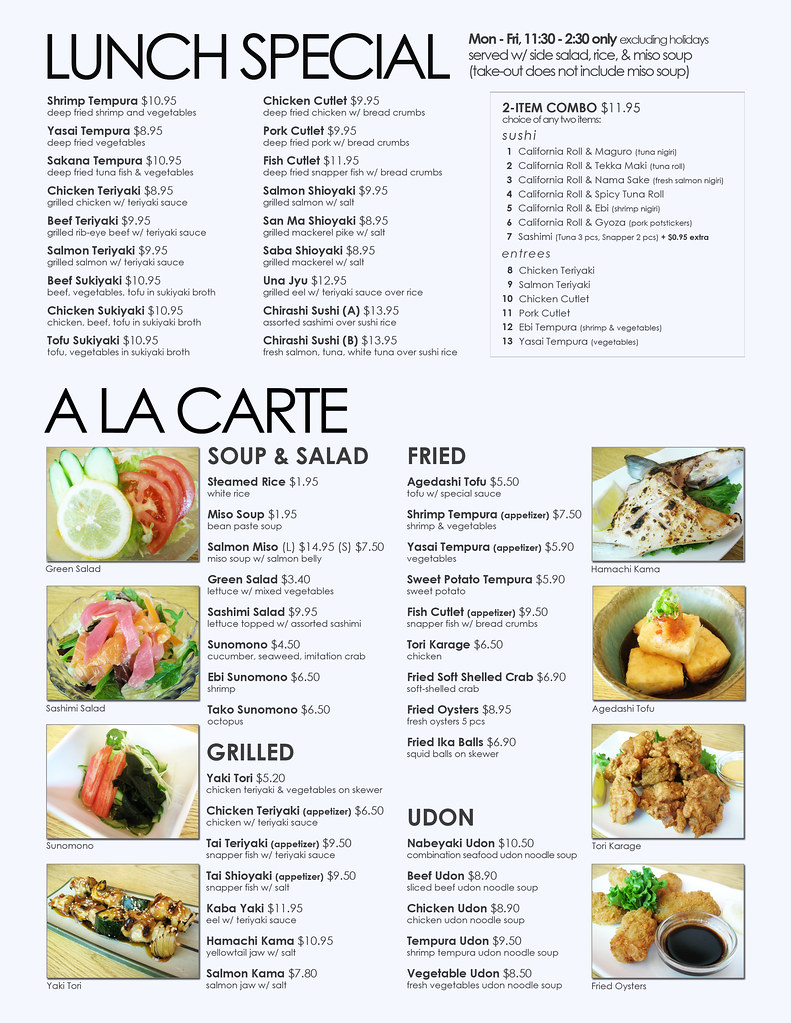 Sono Sushi Menu  Lunch Specials + A La Carte  My new