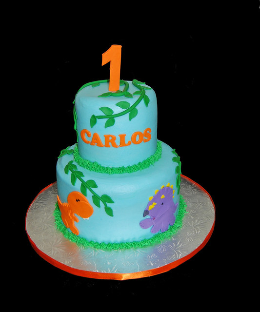 2 Tier Baby Dinosaur 1st Birthday Cake Trex And Triceratop