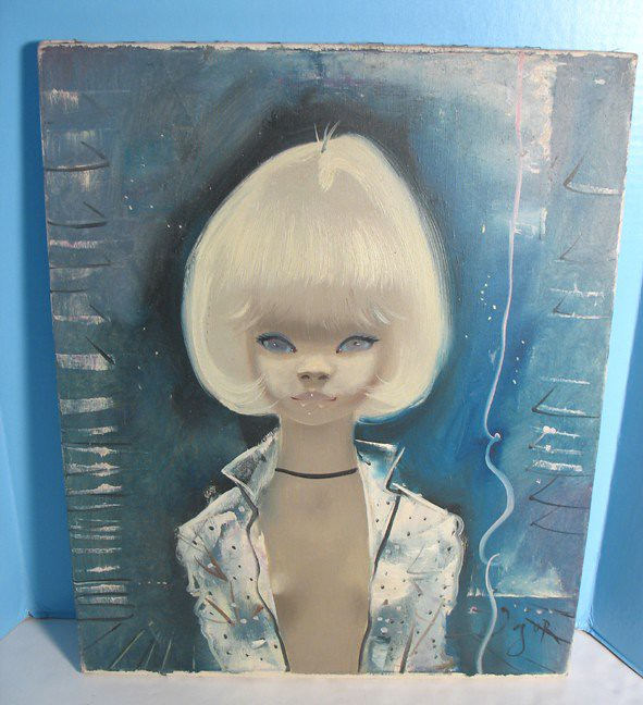 Semi-Nude Blonde On The Blue  -- Image Of Whole Painting -9387