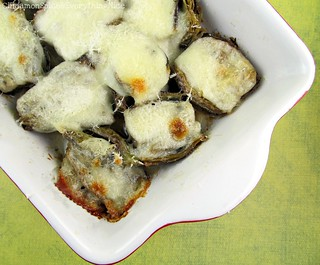 Buttery Baked Artichokes with Mozzarella | by CinnamonKitchn