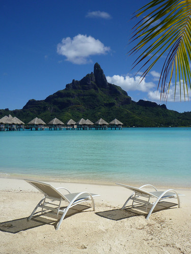 Beach chairs, overwater bungalows and Mount Otemanu 2 | Flickr