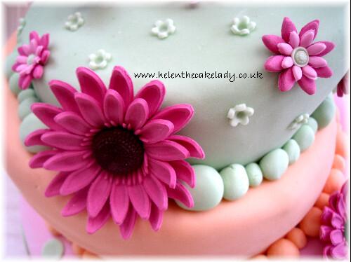 18th pastel topsy turvy birthday cake   Gerbera ...