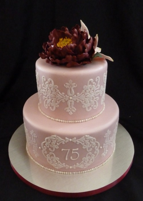 75th Birthday Cake Gumpaste Peony Lily Lace Stenciled Flickr