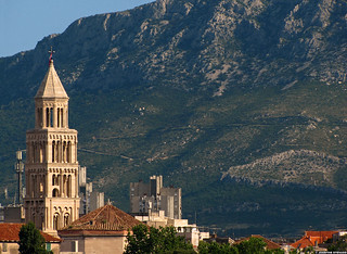 20110529_02 Bell tower of the Cathedral of St. Duje + mountains | Split, Croatia | by ratexla