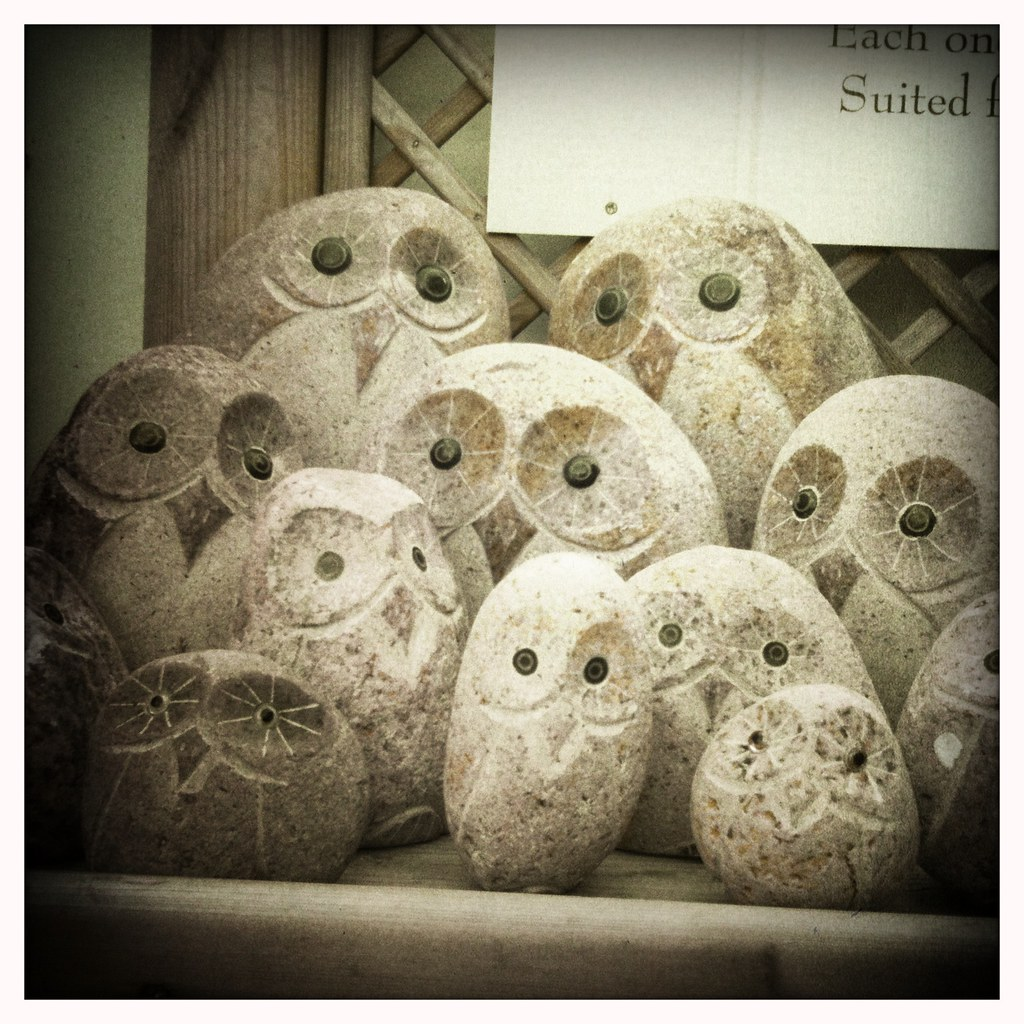 Hipstamatic hand carved owl statues seen for sale