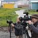 Kelly Matheson, Christi Cooper-Kuhn filming with Nelson Kanuk in Kipnuk, Alaska