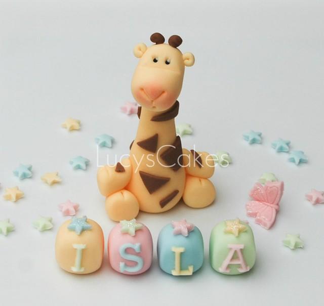 Giraffe cake topper pastel colours for christening or 1st ...