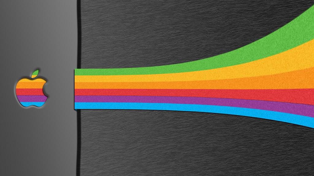 retro apple striped wallpapers a retro apple logo