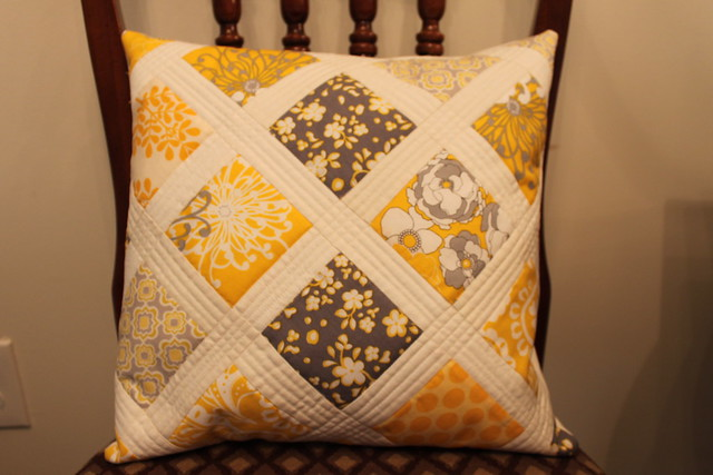 White Quilted Decorative Pillows : Grey, Yellow and White Quilted Throw Pillow Flickr - Photo Sharing!