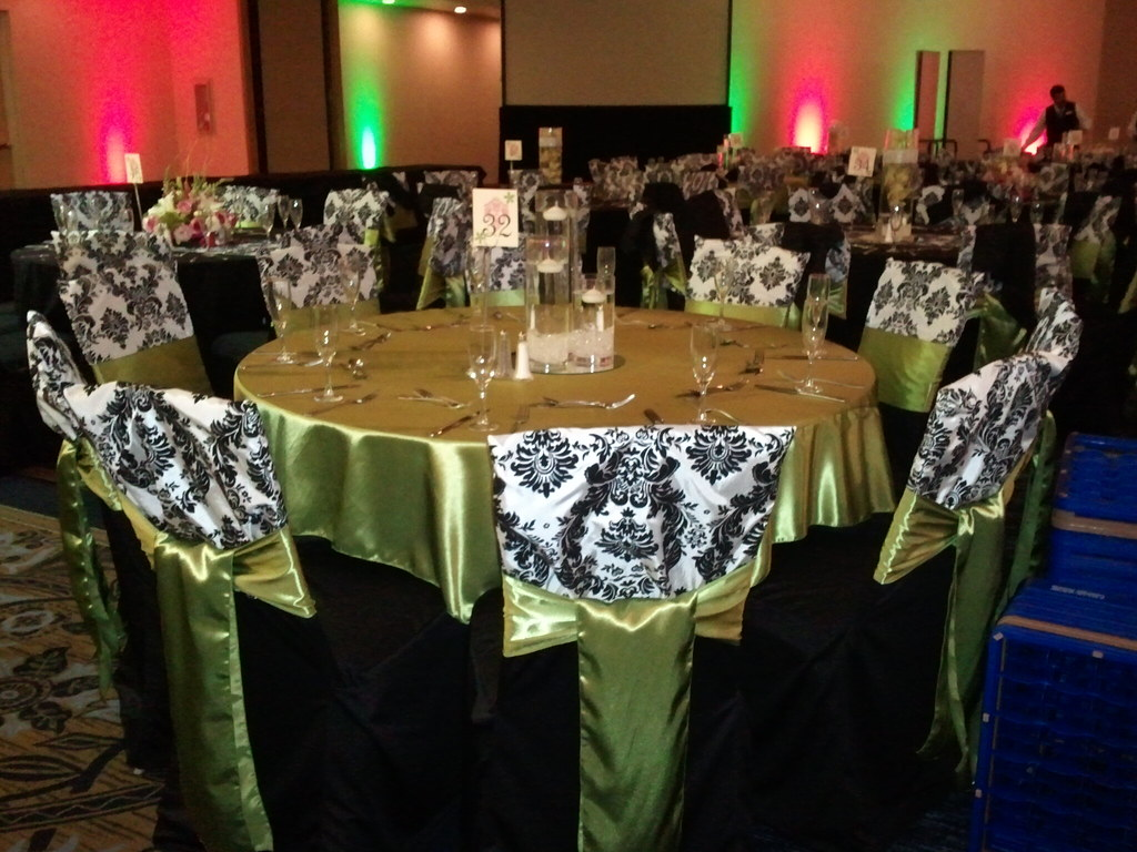 ... wedding black chair covers black and white damask chair caps lime green satin sashes & wedding black chair covers black and white damask chair cu2026 | Flickr