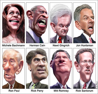 Caricatures: GOP Presidential Debate Participants September 2011 | by DonkeyHotey