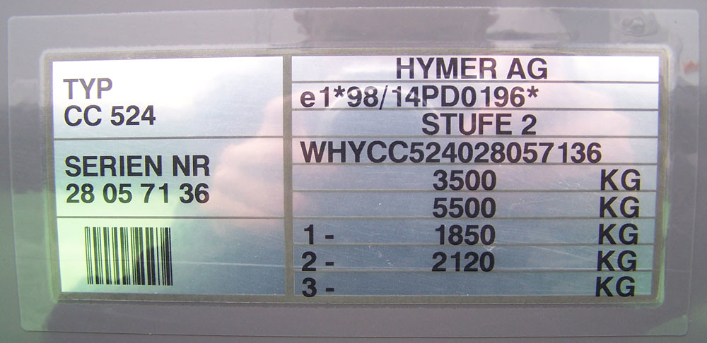 Hymer C-Classic 524 serial number plate (VIN tag) | Hymer C-… | Flickr