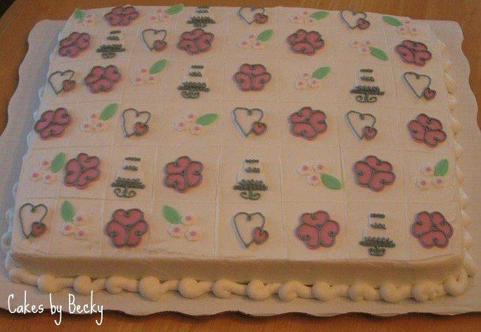 bridal shower cake squares by butrcream