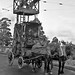 Installation of trolley bus wires with horse-drawn carriage assembly 1944